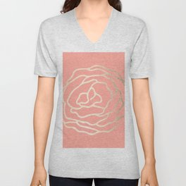 Flower in White Gold Sands on Salmon Pink Unisex V-Neck