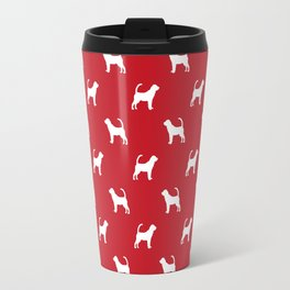 Bloodhound dog breed minimal pattern red and white dog lover bloodhounds breed Travel Mug