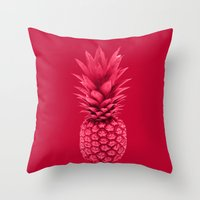 pineapple Throw Pillows featuring Pineapple by Simi Design