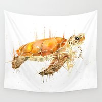 sea turtle Wall Tapestries featuring Sea Turtle  by Meg Ashford