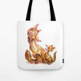 Tender moment Fox and Cub Tote Bag