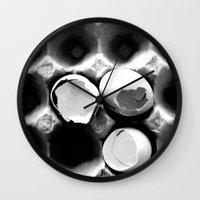 eggs Wall Clocks featuring  eggs by serena wilson stubson