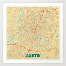 Austin Map Retro Art Print