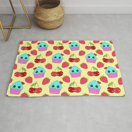 Cute funny sweet adorable happy little blue baby cupcakes, little cherries and red ripe summer strawberries cartoon fantasy light sunny pastel yellow pattern design Rug