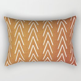 Mudcloth White Geometric Shapes in Burnt Orange-ARROWS 4 Rectangular Pillow
