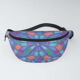 Feather Weave Star Design Blue Fanny Pack