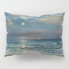 Moonlit Beach Seascape No. 2 landscape painting by Thomas Moran Pillow Sham