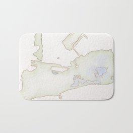 Cayo Hueso Watercolor Map Bath Mat