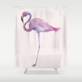 "Watercolor Painting of Picture ""Flamingo"" Shower Curtain"