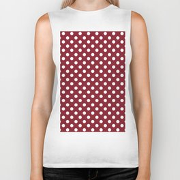 Burgundy Red and White Polka Dot Pattern Biker Tank