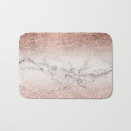 Modern faux rose gold glitter and foil ombre gradient on white marble color block Bath Mat