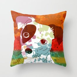 Abstract Colorful Jack Russel Terrier  Throw Pillow