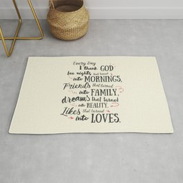 Thank God, every day, quote for inspiration, motivation, overcome, difficulties, typographyw Rug