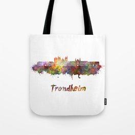 Trondheim skyline in watercolor Tote Bag