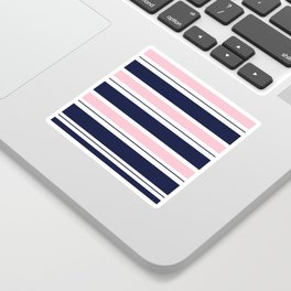 Blue Navy and Pink Stripes Sticker