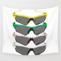 tour de france Wall Tapestries featuring Tour de France Glasses by Pedlin