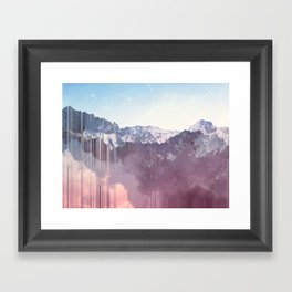Glitched Mountains Framed Art Print