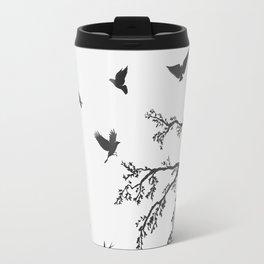 flock of flying birds on tree branch Travel Mug