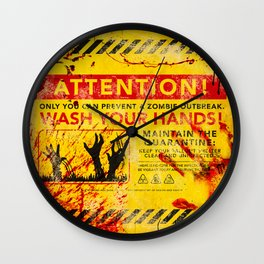 Prevent Zombie Outbreak: Wash your hands! Wall Clock