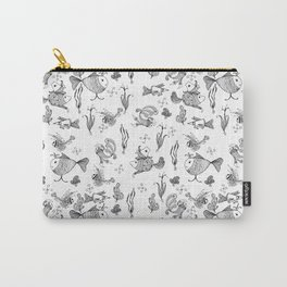Seamless hand draw cartoon fairy fishes Carry-All Pouch