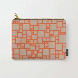 abstract cells pattern in orange and beige Carry-All Pouch
