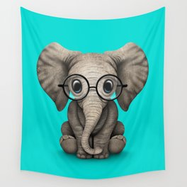 Cute Baby Elephant Calf with Reading Glasses on Blue Wall Tapestry