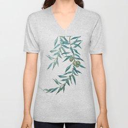 green olive leaf watercolor Unisex V-Neck