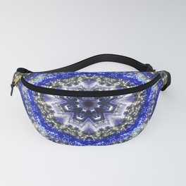 Happy Blues - blue and white kaleidoscope from lighted trees 1430 Fanny Pack