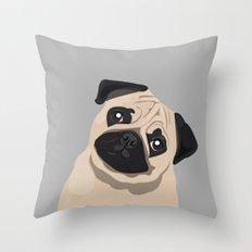 Pug Face - Grey Throw Pillow