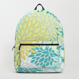 Festive Floral Prints, Teal, Turquoise and Yellow Backpack