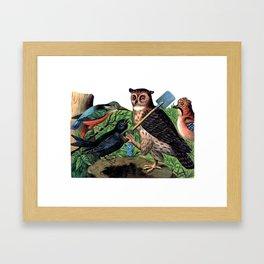 Vintage Owl with Shovel Framed Art Print