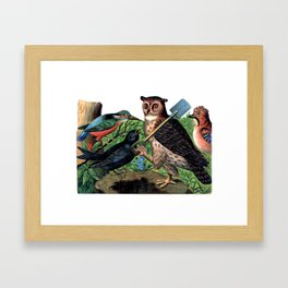 Vintage Owl with Shovel Framed Art Print