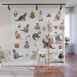 Christmas cats pattern decor. Wall Mural