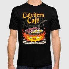 Calcifer's Cafe MEDIUM Black Mens Fitted Tee