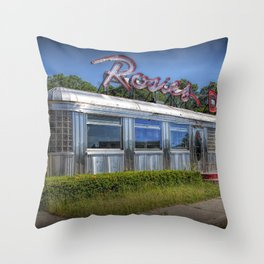 Historic Rosie's Diner by Rockford Michigan Throw Pillow