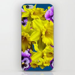 YELLOW SPRING DAFFODILS & LILAC PANSIES BLUE COLOR iPhone Skin
