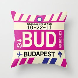 BUD Budapest • Airport Code and Vintage Baggage Tag Design Throw Pillow