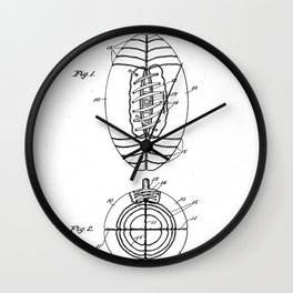 American Football Patent - Football Art - Black And White Wall Clock
