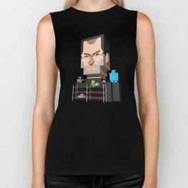 Steve Jobs 3D pixel portrait Biker Tank