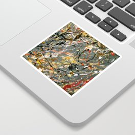 Jackson Pollock Interpretation Acrylics On Canvas Splash Drip Action Painting Sticker
