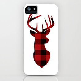 Red Buffalo Plaid Deer iPhone Case