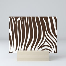 Zebra Stripes | Animal Print | Chocolate Brown and White | Mini Art Print