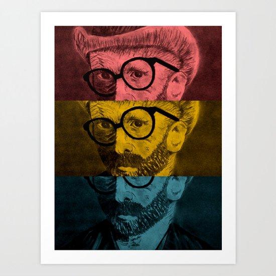 Hipster Van Gogh Art Print