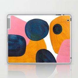 Mid Century Modern Abstract Minimalist Retro Vintage Style Pink Navy Blue Yellow Rollie Pollie Ollie Laptop & iPad Skin