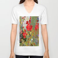 blankets V-neck T-shirts featuring Red Geraniums in Spring Garden Landscape Painting by SharlesArt