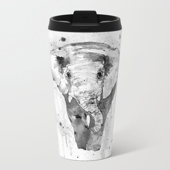 Elephant, watercolor black and white Metal Travel Mug