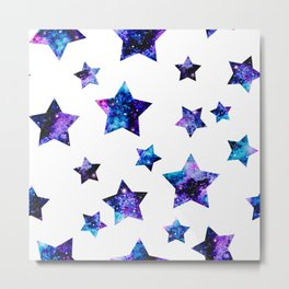 Purple Space Stars Metal Print