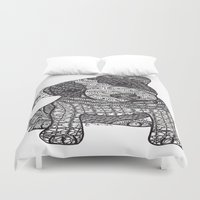 jack russell Duvet Covers featuring Jack Russell by DiAnne Ferrer