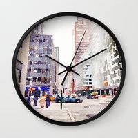 nyc Wall Clocks featuring NYC by Christine Workman