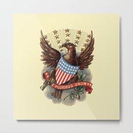 E pluribus unum - Out of many, one - vintage United States Bald Eagle hand drawn illustration Metal Print